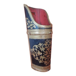 Vintage Florentine Parcel-Gilt Black and Gold Wood Umbrella Stand For Sale