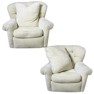 Tufted Barrel Back Armchairs - A Pair