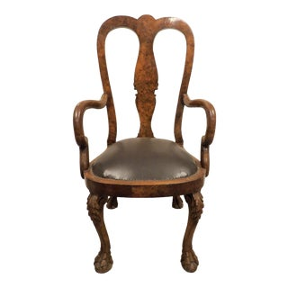 Vintage Carved Wood Accent Chair For Sale