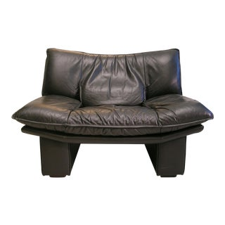 Nicoletti Salotti Italian Mid Century Modern Black Leather Lounge Chair For Sale