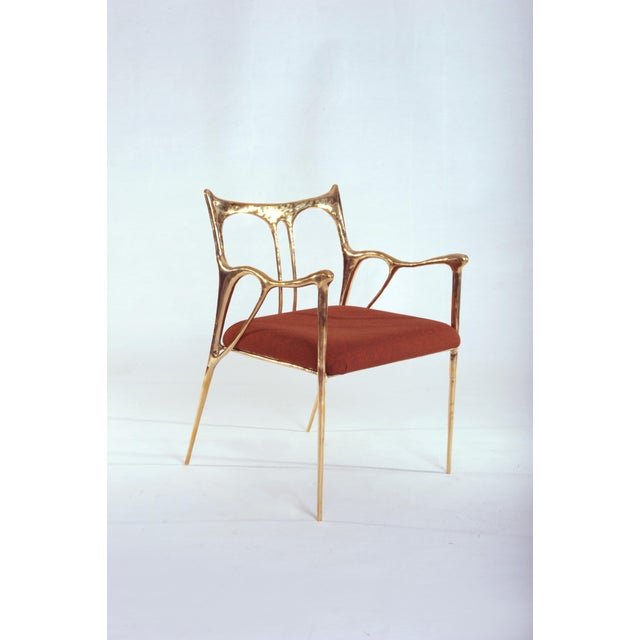 Black Brass Sculpted Brass Chair, Misaya For Sale - Image 6 of 8