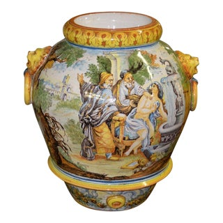 Mid 20th Century Hand Painted Portuguese Jardiniere C.1950 For Sale