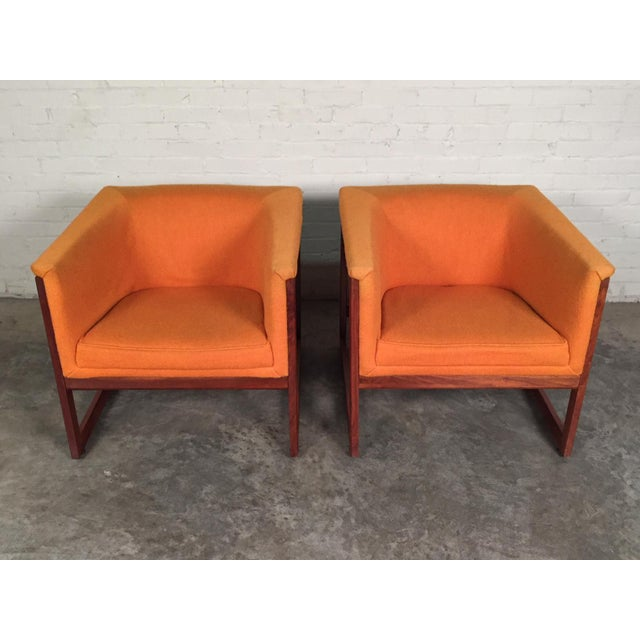 Mid-Century Modern Milo Baughman Mid-Century Modern Floating Cube Chairs - A Pair For Sale - Image 3 of 10