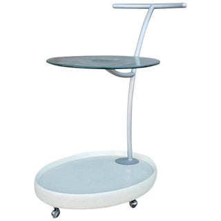 1970s Italian White Cart With Round Glass For Sale
