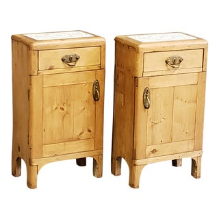 Antique Scandinavian Pine Nightstands - a Pair For Sale