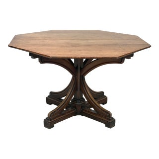 Late 19th Century Antique Octagonal Pedestal Table For Sale