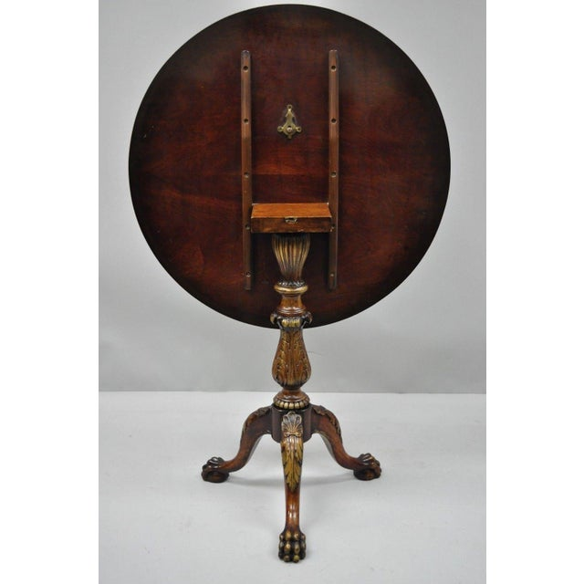 Chippendale Style Mahogany Pie Crust Tilt Top Tea Table with Ball and Claw Feet For Sale - Image 12 of 13