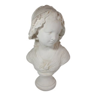 Late 20th Century French Alabaster Sculpture of a Young Girl by Grinam Niam For Sale