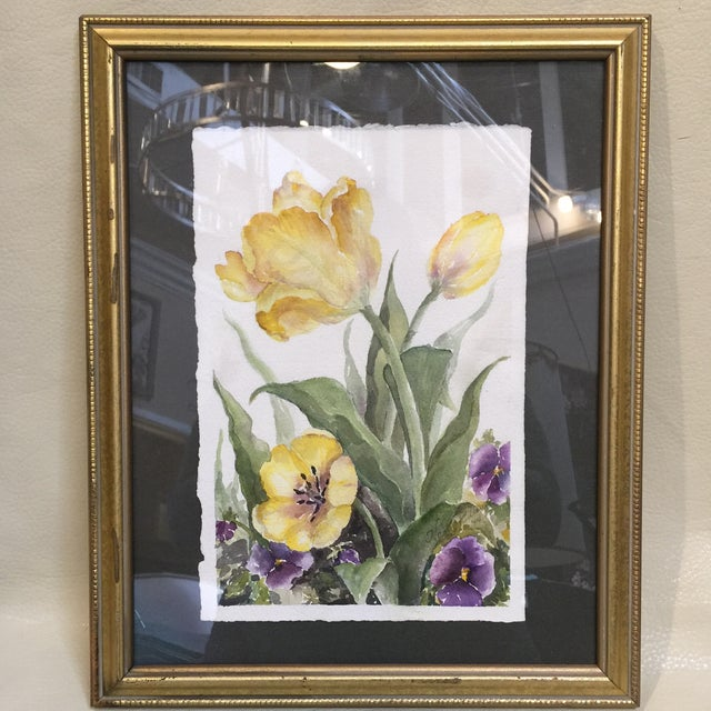 Beautiful Watercolor under glass. It is matted and framed in gilded gold wood. Quite lovely.