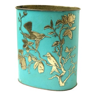 Vintage Turquoise and Brass Trash Bin For Sale