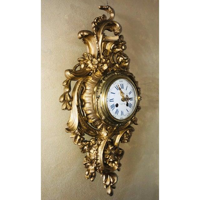 19th Century Louis XV Bronze Ormolu Cartel Clock For Sale In Miami - Image 6 of 12