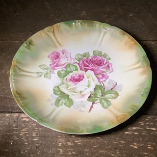 Antique Anton Mehlem Bavarian German Luster Wall Art Cake Plate Featuring Cabbage Roses Preview