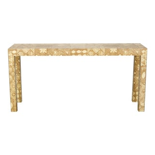 Mid-Century Acrylic Over Fabric Parsons Console Table