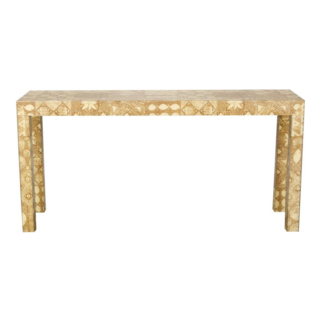 Mid-Century Acrylic Over Fabric Parsons Console Table - Image 1 of 9