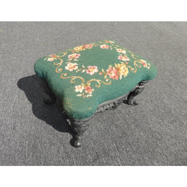 Vintage French Provincial Green Needlepoint Footstool W Ornate Cast Iron Base For Sale - Image 4 of 12