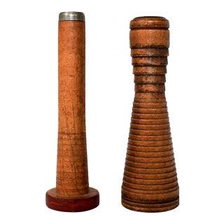 Antique Wooden Bobbin Spools, a Pair For Sale