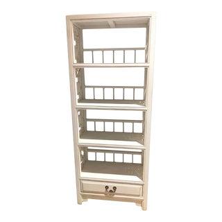 Asian Modern White 1d Mini Bookcase For Sale