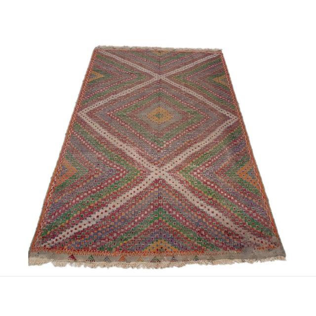 Vintage Flat Weave Turkish Kilim - 6′4″ × 9′11″ - Image 1 of 7