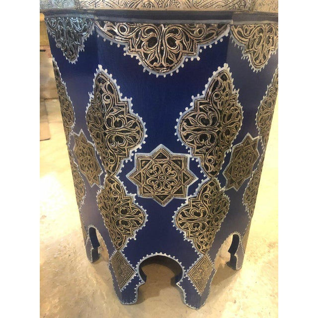 Moroccan Silver Metal Brass Inlaid Side Tables - a Pair For Sale - Image 4 of 13