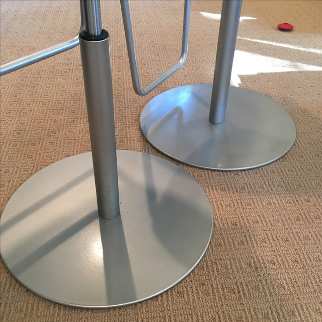 Brown Leather Adjustable Stools - a Pair - Image 10 of 11
