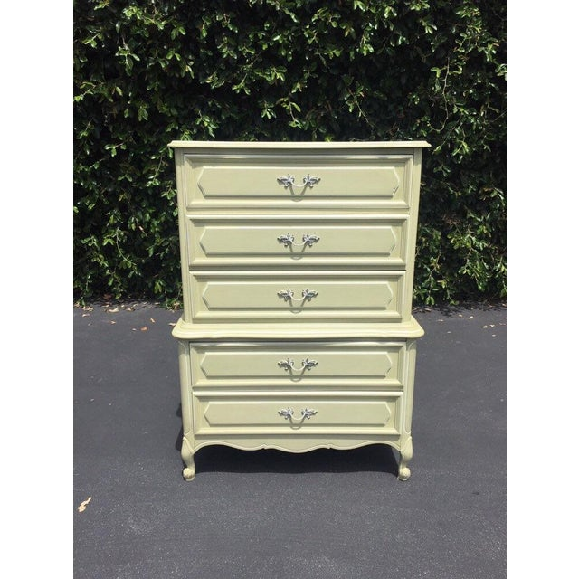Green Vintage French Provincial Chest of Drawers by Henry Link For Sale - Image 8 of 8