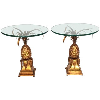 Pair of Sculptural Tole Gold Gilt Pineapple Side Tables For Sale