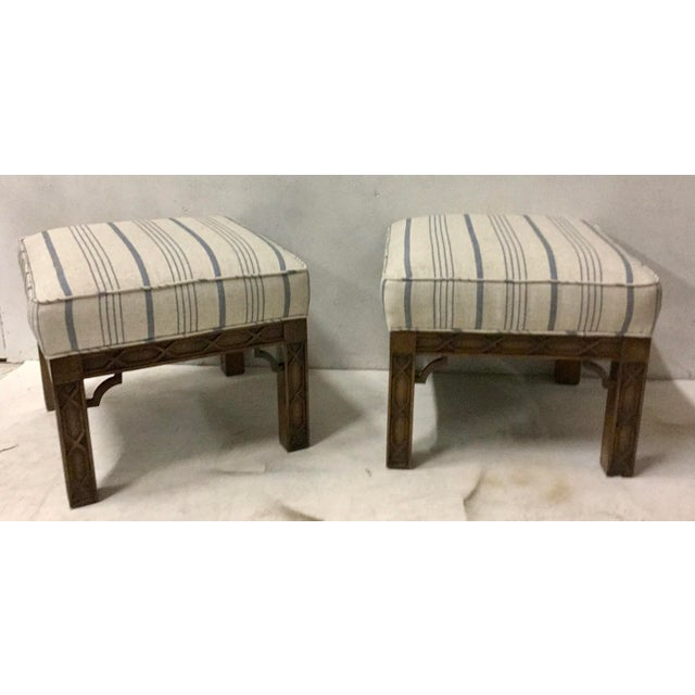 1970s Pair of Chinese Chippendale Style Ottomans For Sale - Image 5 of 8