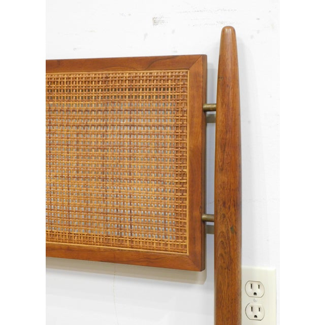 Wood Danish Modern Vintage Teak and Cane King Headboard For Sale - Image 7 of 13