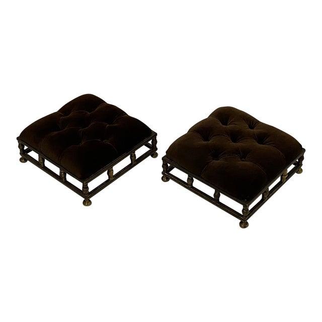 Edwardian Brass & Velvet Footstools - a Pair For Sale