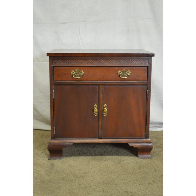 Baker Chippendale Style Mahogany Nightstand - Image 2 of 11