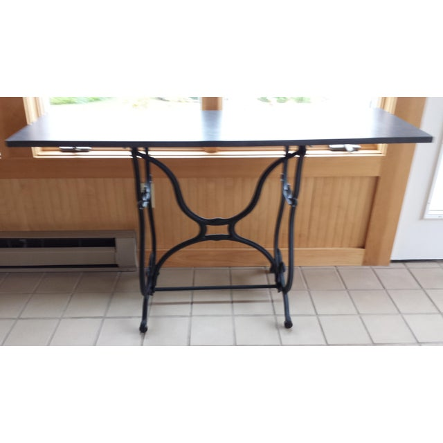 Wrought Iron & Slate Top Console Table For Sale - Image 9 of 11
