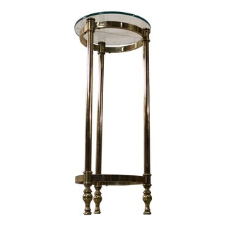 Vintage 1960s Column Style Brass & Glass Top Accent Table For Sale
