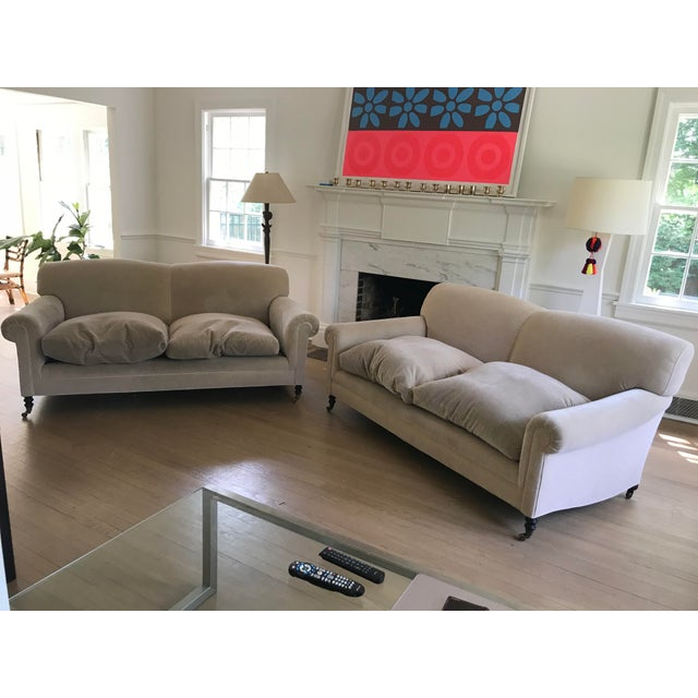 """George Smith """"Full Scroll Arm Signature Sofas"""" - A Pair For Sale - Image 9 of 9"""