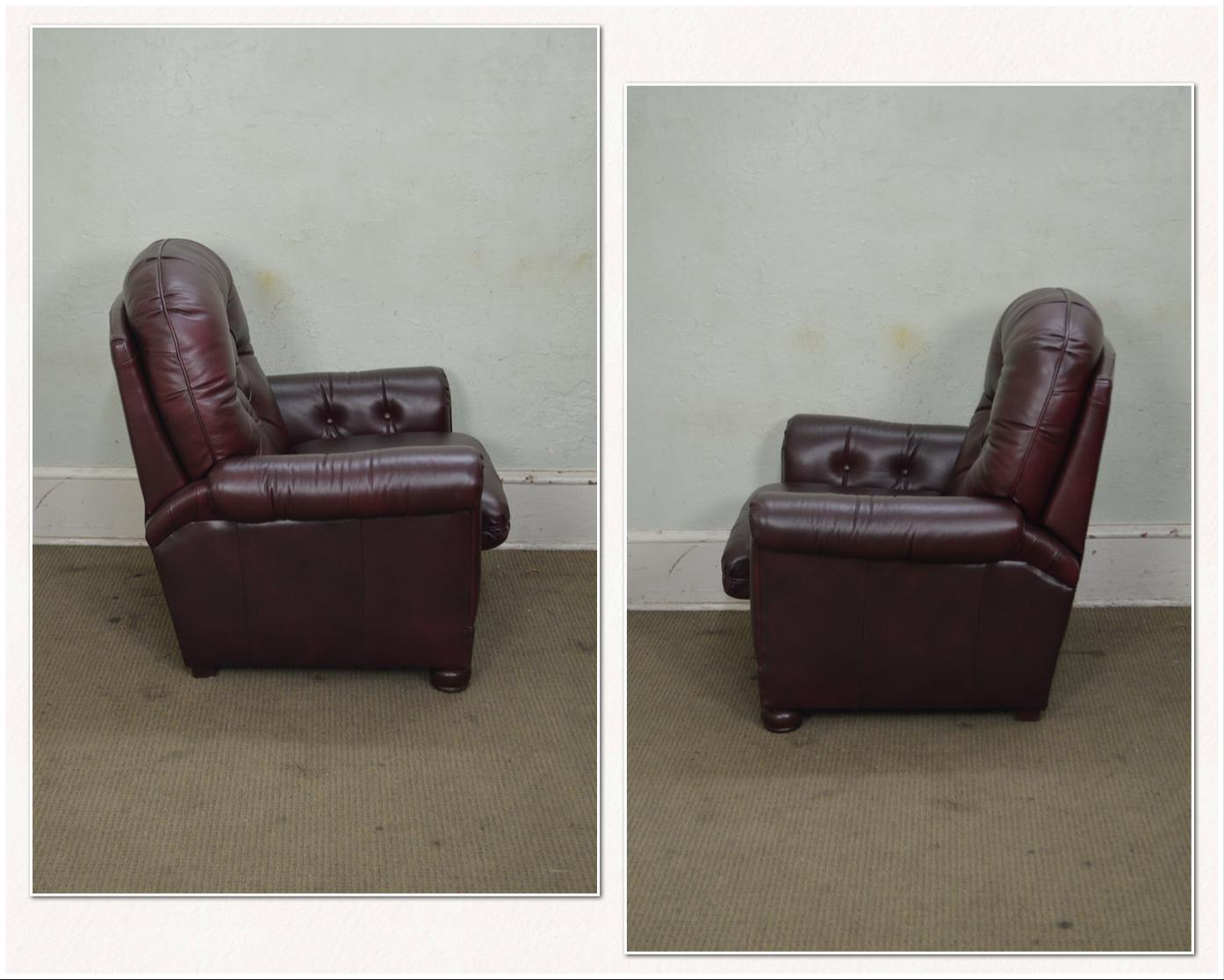 Charmant Hollywood Regency Bradington Young Oxblood Leather Tufted Recliner Club  Chairs W/ Ottomans   A Pair