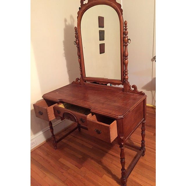 Antique Federal Maple Mirrored Vanity - Image 3 of 8