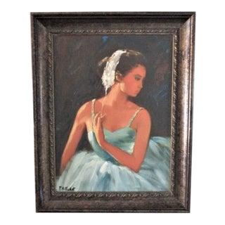 Original Oil Fine Art Painting of Ballerina Girl Framed 23 X 30 Signed