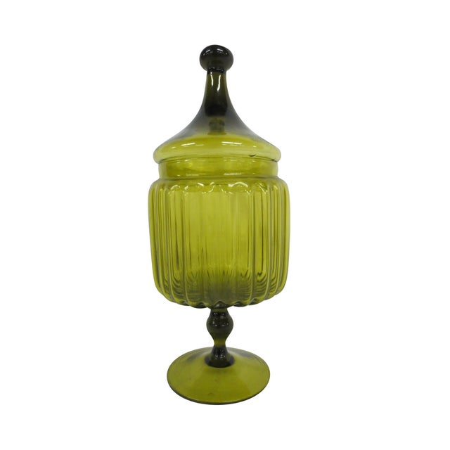 Green Glass Bon-Bon Dish - Image 1 of 5