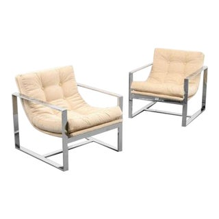 Pair of Lounge Chairs Attributed to Milo Baughman For Sale