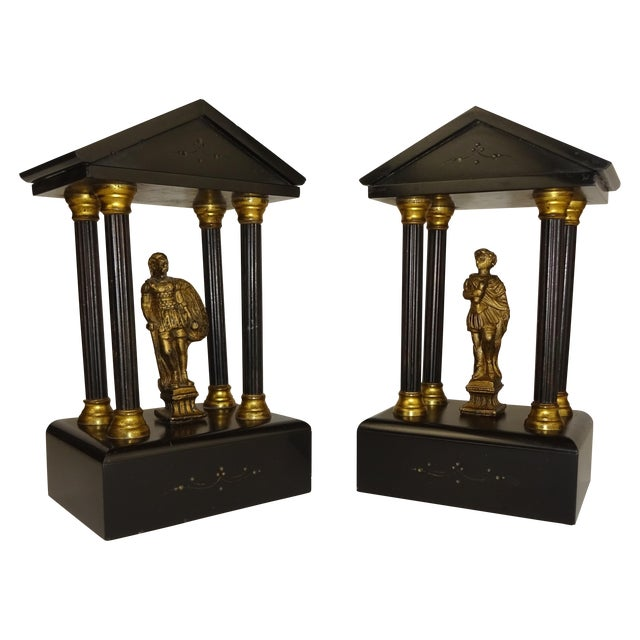 Belgian Miniature Marble & Bronze Temples - A Pair - Image 1 of 11