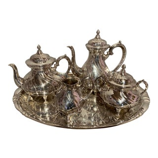 Silver Plated Tea Set by Württembergische Me Warenfabrik WMF Germany - Set of 5 For Sale
