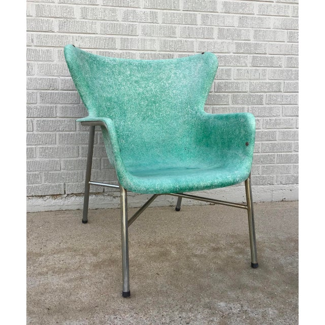 Mid-Century Modern Mid Century Modern Fiberglass Aqua Green Chair With Chrome Legs For Sale - Image 3 of 13