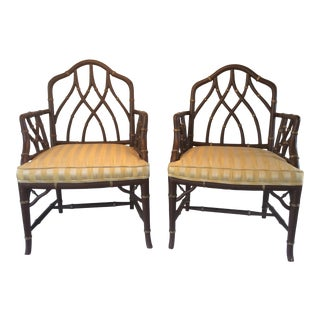 Vintage Faux Bamboo Armchairs - A Pair For Sale