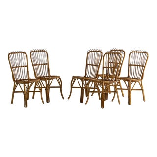 Set of 6 Bamboo and Rattan Dining Chairs Attributed to Boncina For Sale