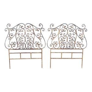 Pair of Italian Gilt Metal Twin-Size Headboards For Sale
