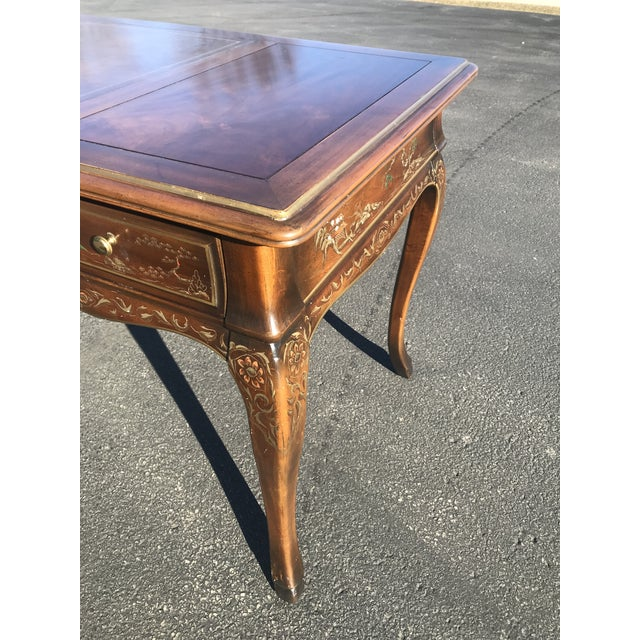 1980s Chinoiserie Drexel Writing Desk With Matching Chair -2 Pieces For Sale In Chicago - Image 6 of 12