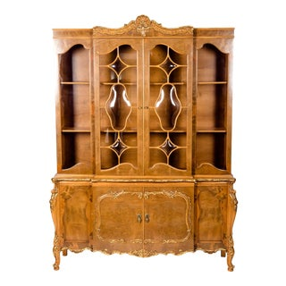 20th Century Two Parts Burlwood Hutch or China Cabinet For Sale