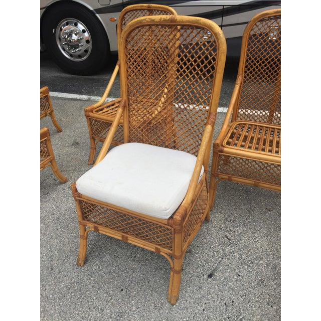 1970s Vintage Chippendale Style Rattan Bamboo Dining Chairs- Set of 6 For Sale - Image 9 of 11
