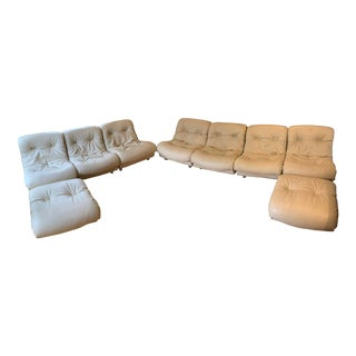 Artifort Mid-Century Modern White Leather Sectional Couch - Set of 9 For Sale