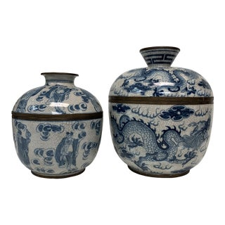 Vietnamese Blue and White Lidded Jars - a Pair For Sale
