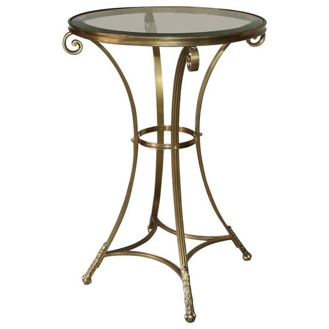 1980s Vintage Gueridon Brass Paw Footed Table For Sale - Image 11 of 11